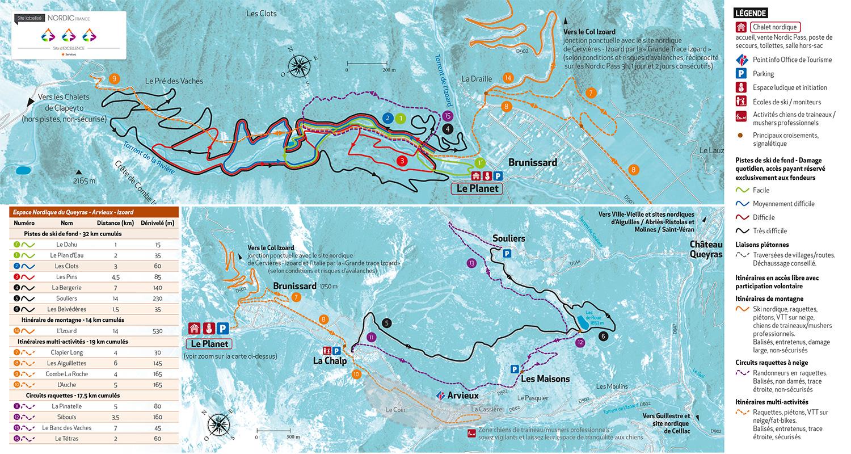 Carte du domaine skiable d'Arvieux