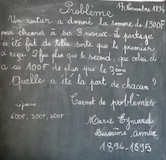 Ecole d'Arvieux (Queyras) - Problème d'arithmétique
