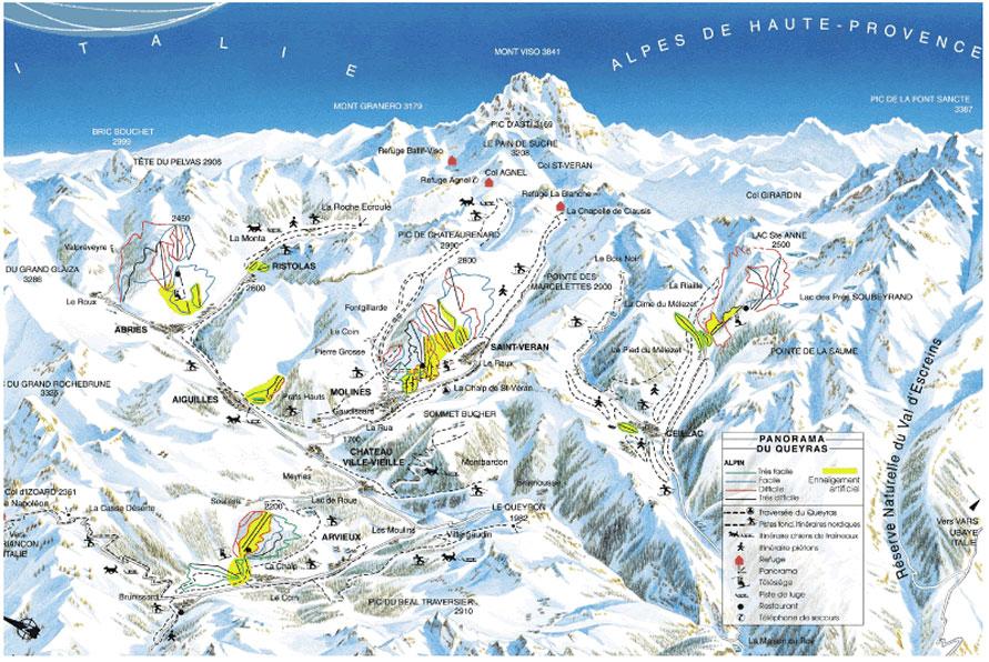 Panorama delle piste di sci alpino e di fondo del Queyras (Hautes Alpes)