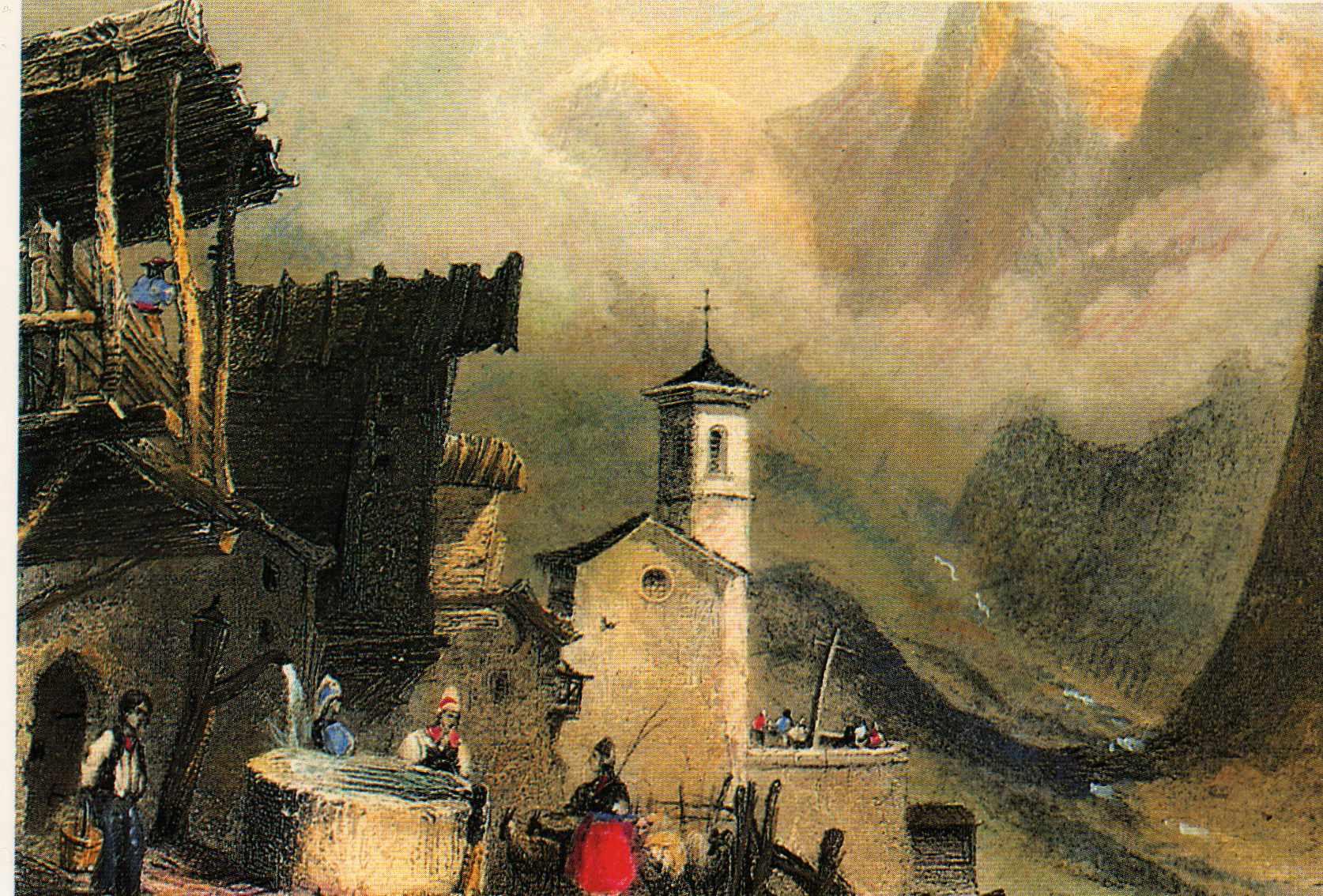 Saint-Véran dans le Queyras (Hautes Alpes) au XIXe siècle. Lithographie de lord Monson