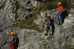 The via ferrata at Fort Queyras (Hautes-Alpes) , above the river Guil