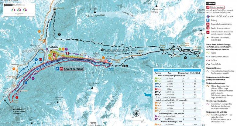 Carte du domaine de ski du Cristillan (Ceillac)