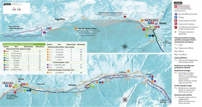 Carte du domaine skiable du Haut Guil