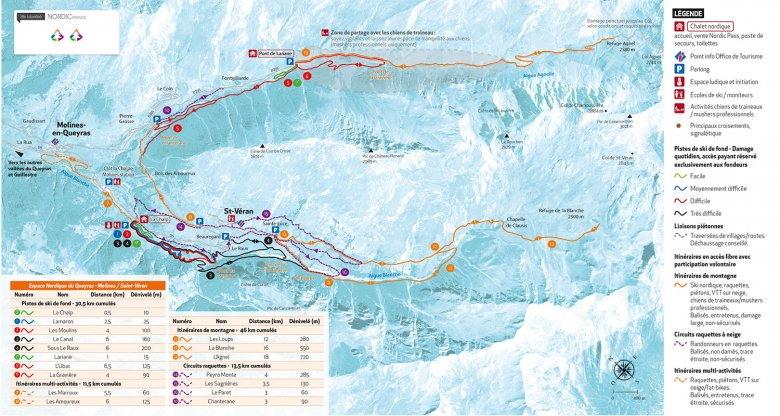 Carte du domaine skiable de Saint Véran