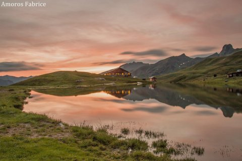 Milde des Abends an der Skihütte Blanche in Saint-Véran (Queyras, Hochalpen)