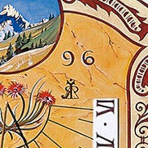 Détail du cadran solaire ci-dessus. Au centre la signature de l'artiste.