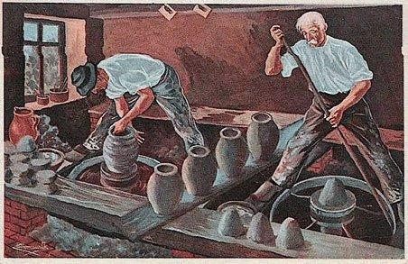 Le tour à bâton : dans l'atelier le potier de droite s'apprête à lancer son tour avec son bâton. Devant lui sont disposées les mottes d'argile qu'il transformera en jarres. Le potier de gauche met la dernière main à son ouvrage. Son tour tourne vite. Devant son pied droit chacun d'eux a déposé une écuelle d'eau pour mouiller l'argile si besoin est.