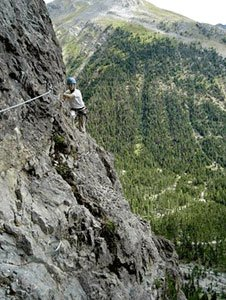 The via ferrata of Combe la Roche in Arvieux
