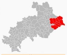 Der Queyras (im rot) im Departement der Hautes Alpes, an der italienische Grenze