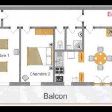 Le plan de l'appartement les Jonquilles 4 personnes à Saint-Véran