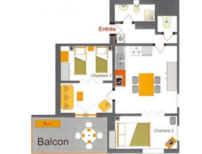 Le plan de l'appartement les Narcisses 4 personnes à Saint-Véran